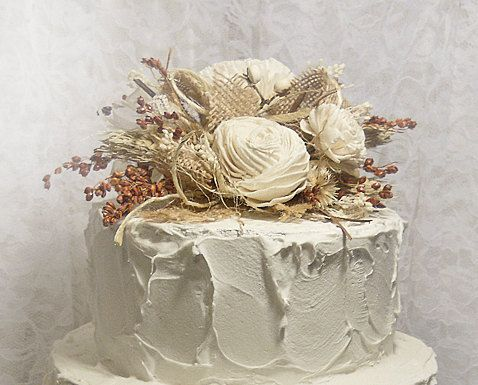 Sola & Burlap Rustic Fall Wedding Cake Topper with by PapernLace, $35.00