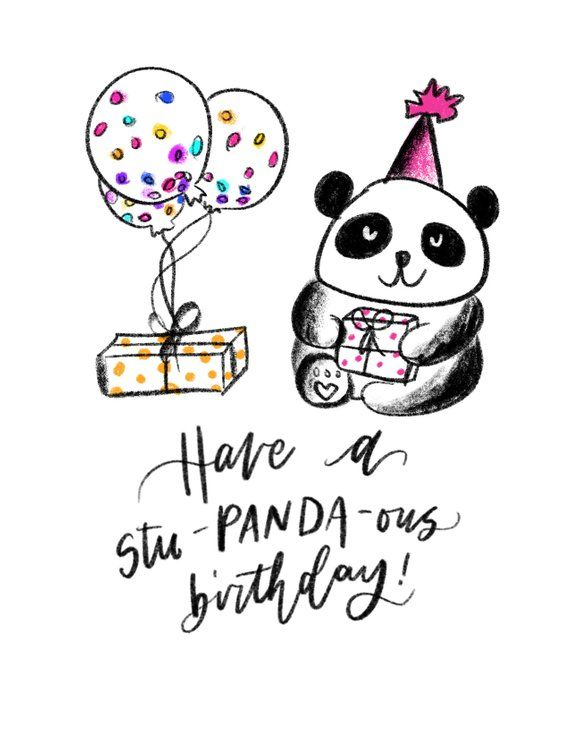 Have A Stu Panda Ous Birthday Happy Birthday Pun Card Hand Lettered Illustrated Handmade Card Panda Birthday Cards Birthday Puns Cards Handmade