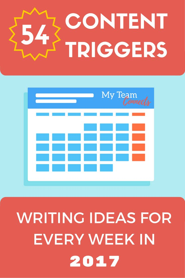 Ready to fill up your content calendar for 2017 in one fell swoop? Use these triggers, get them scheduled, then get writing! Connect with your audience by using these writing prompts. Spin #content from these topics for video, lists, infographics, and more.  Content Idea Triggers for Every Week in 2017…