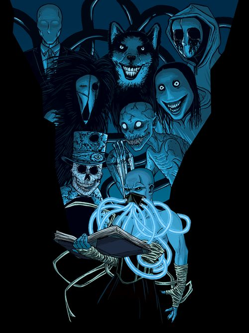 Slenderman, Smile Dog, Eyeless Jack, Seedeater, Jeff the killer, Skintaker, The Rake, and Mr. Creepypasta