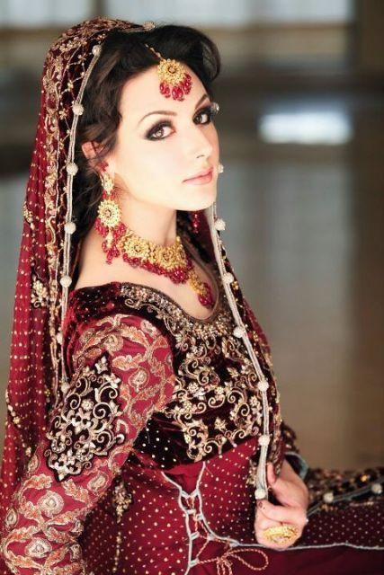 Pakistani Bridal Dresses 2014 for Walima for Nikha Red and White ...