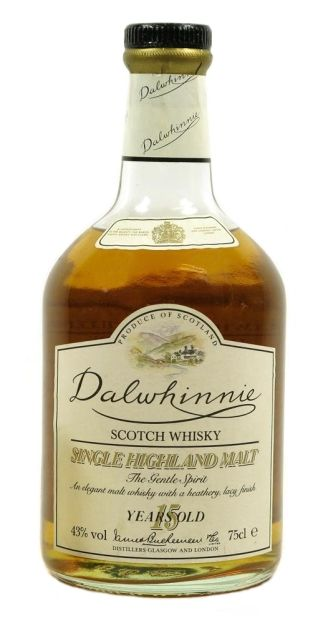 Dalwhinnie 15 yo Single Highland Malt whisky - official bottling from late 80's.