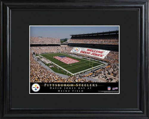 NFL Stadium Print - Steelers. Make your favorite football fan feel important on his special day with our personalized NFL Stadium Print. This high-quality photograph is available for all NFL franchises and features the official stadium of his favorite team, packed to the rafters with fans that came just to honor him! Ideal for the die-hard fan, this print is matted and framed in black and includes the name of the team, stadium, and honoree. Makes an ideal groomsmen gift or...
