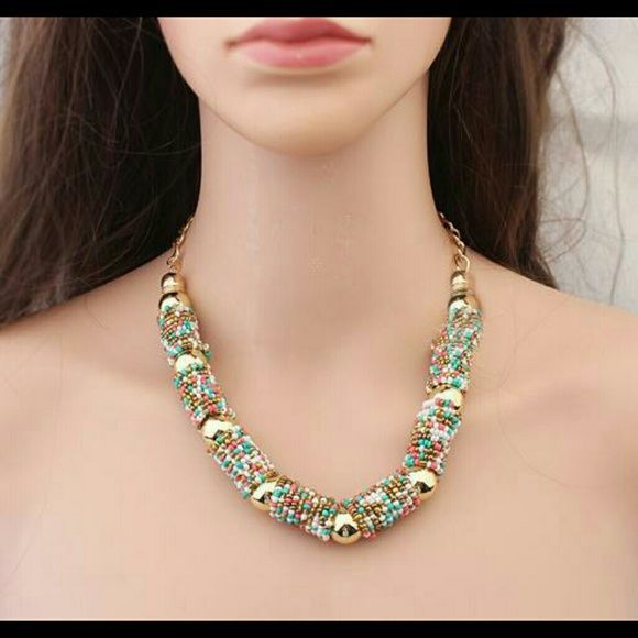 Multicolor bead necklace new fashion  vintage chunky multicolor Necklaces  gothic choker for women none Jewelry Necklaces