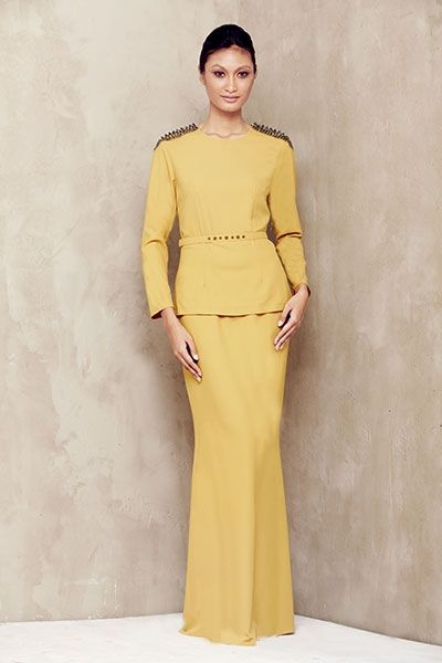 Studded Shoulder Baju Kurung - Mustard