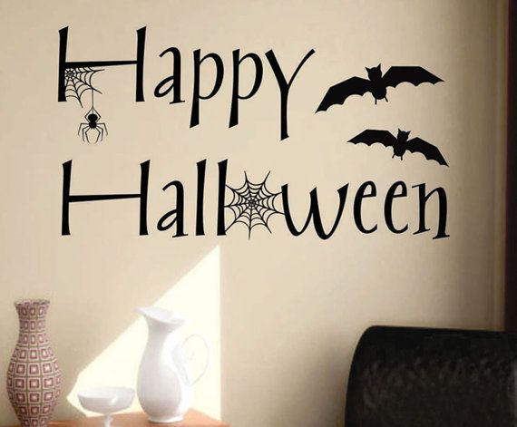 Vinyl Wall Lettering Happy Halloween Quotes Decal with Bats and Spider via Etsy