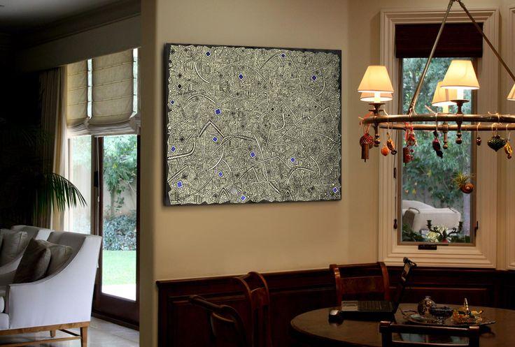 """Работа Саввы """"SOLFEGGIO"""" в интерьере загородного дома в Калифорнии."""