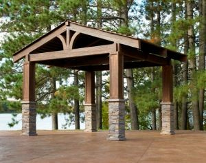 rustic pergola with metal roof or cedar shakes? & stone