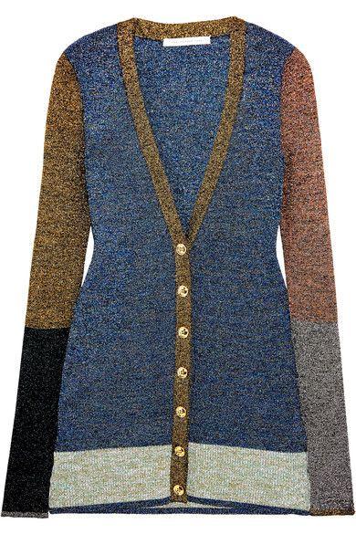 Christopher Kane - Color-block Metallic Stretch-knit Cardigan - Blue - x small