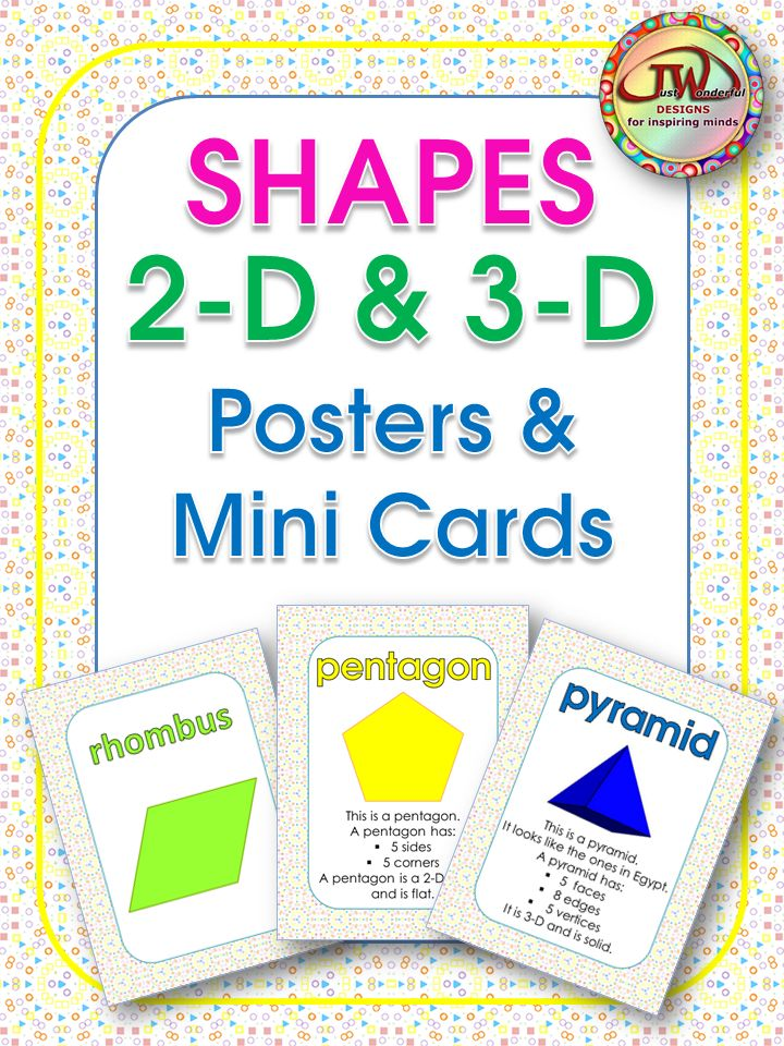 Shapes posters and mini cards - Bordered in geometric patters, this pack of posters and mini cards includes a set with 2-D & 3-D shapes and their names, another set with the shapes, names and attributes, and mini cards for both sets, to use as task cards, math journal or flash cards.