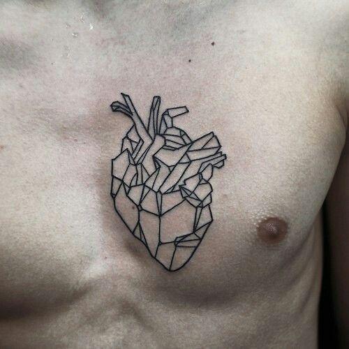 Geometric Heart on inner left bicep, geometric brain on inner right bicep