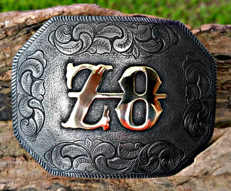 """""""The Western"""" style custom belt buckle with brand. Handcrafted, hand engraved. Order yours from BluegrassEngraving.com."""