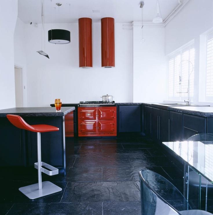 Black & Red Kitchen by Oliver Burns
