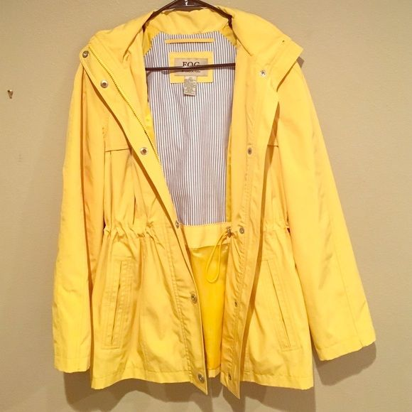Adorable Rain Coat! Bright yellow rain coat! I love this jacket, but I have worn it maybe 3 times. It doesn't really rain where I live, so I am parting with it! Detachable hood; drawstring on the inside of the jacket for styling! London Fog Jackets & Coats Trench Coats