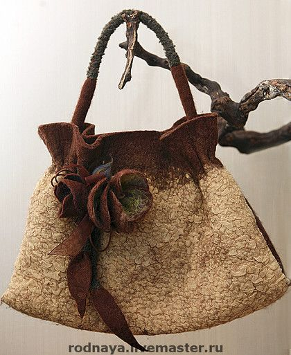 Brown and cream felt handbag