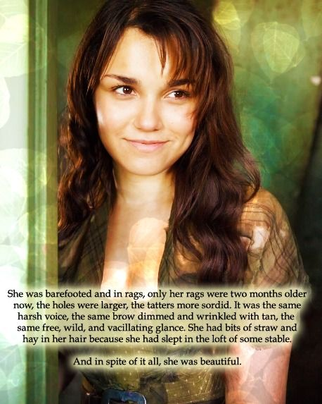 """""""In the meantime, she had halted in front of Marius with a trace of joy in her livid countenance, and something which resembled a smile."""" —Chapter IV: An Apparition to Marius, Les Miserables . EPONINE = DREAM ROLE"""