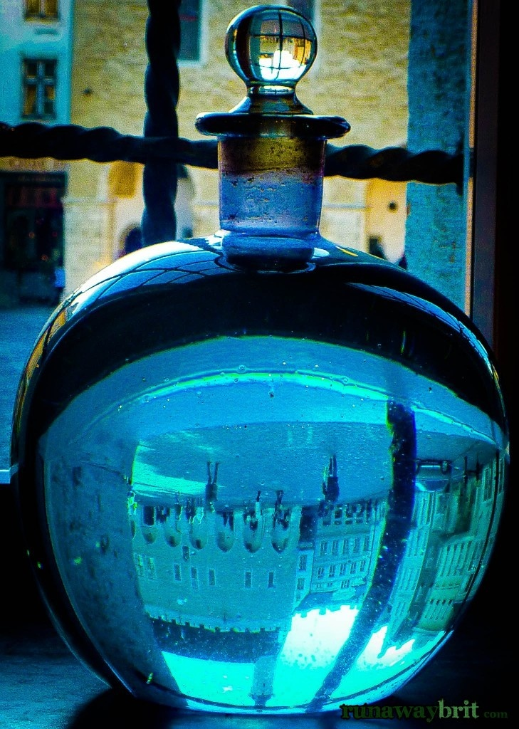It makes a change to get away from the sky and sea for a reflective look inside the bottle in Tallinn's Raeapteek pharmacy, Estonia.