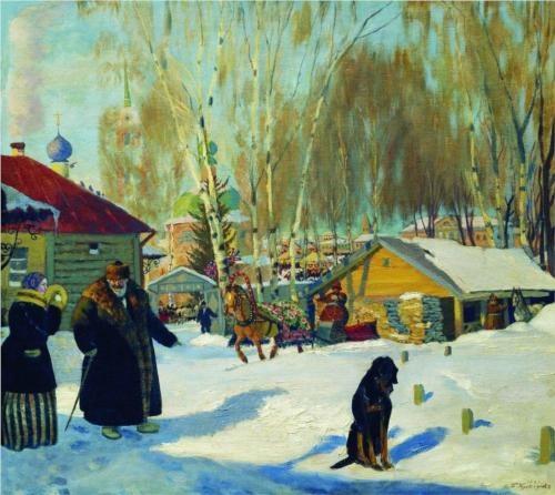 Merchant's yard - Boris Kustodiev