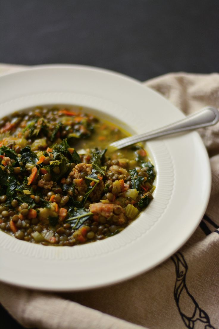 USA] French Lentil Soup with Sausage and Kale Made mine with spinach ...