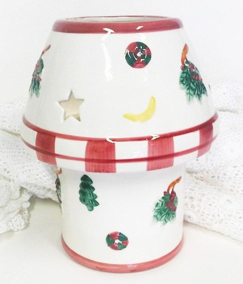 Ceramic Candle Christmas Lamp Vintage Cottage by shoponwebstreet