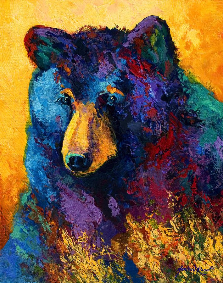 Bear Pause - Black Bear Painting by Marion Rose - Bear Pause - Black Bear Fine Art Prints and Posters for Sale