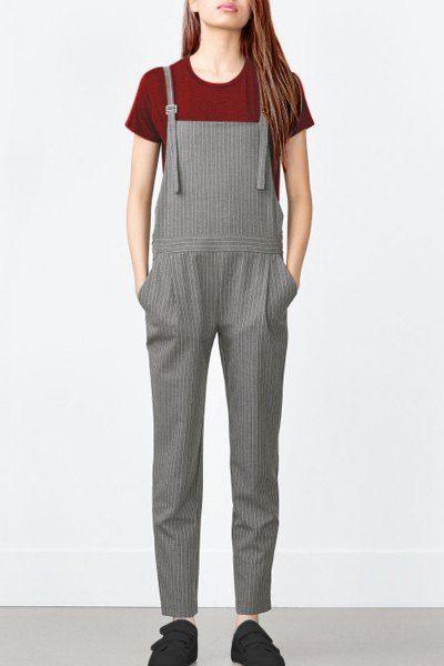 Pocket Design Striped Overalls