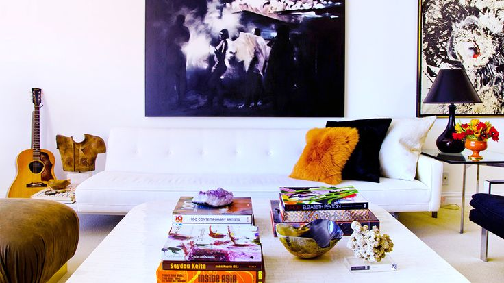 From Art to Lighting — How To Decorate Like an It Girl//orange and black, guitars in decor, amethyst, modern art: Interior Design, Decor, Spaces, Living Rooms, Livingrooms, Coffee Table, Apartment