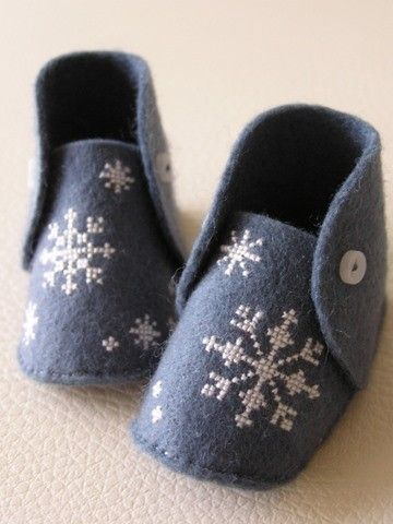 Mini baby shoes - HAND EMBROIDERED - snow crystals on smoky blue