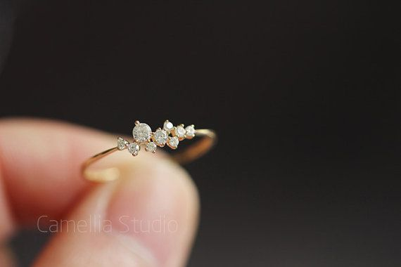 14k gold slender delicate tactic inlay zircon ring by TInyCamellia