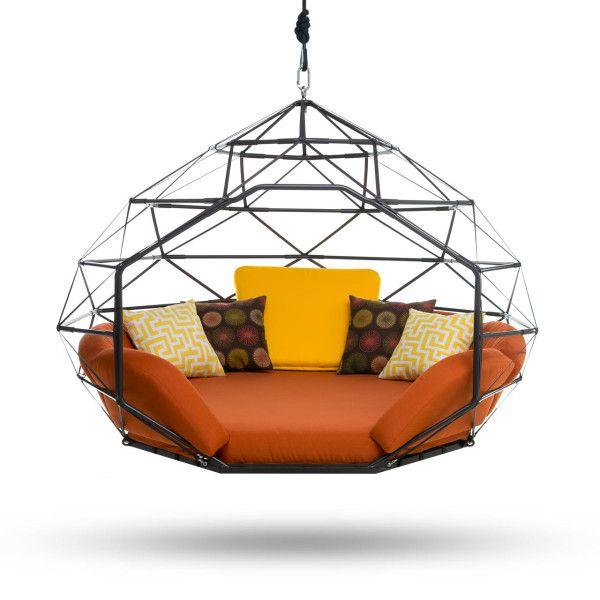 Kodama Zomes: Hanging Geodesic Seats & Beds