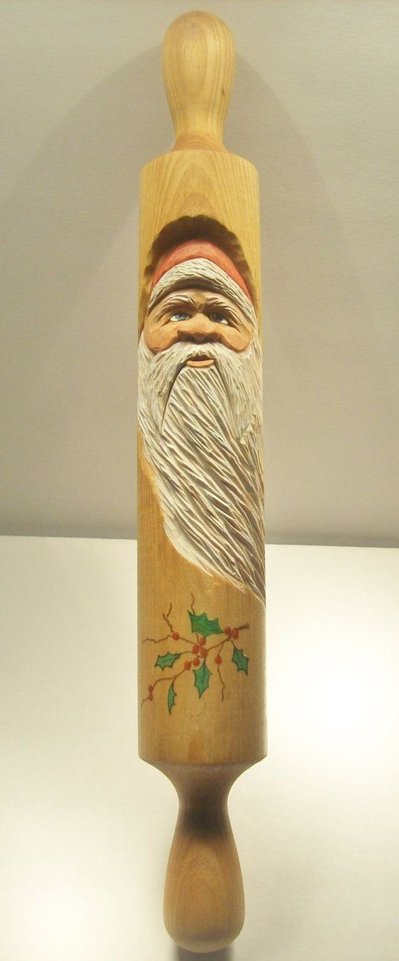 Hand Carved Rolling Pin With Christmas Santa & by ...