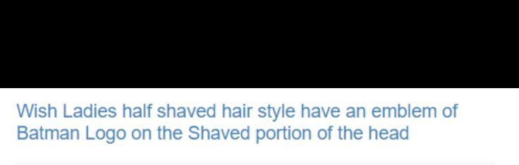 Ladies half bald hair style with batman emblem. #logo #hair #salon #Retail #Marketing #Design #australia #singapore #japan #usa #china