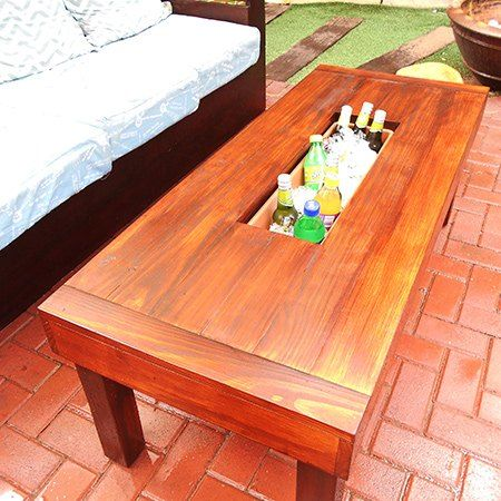 Outdoor Table With Ice Cooler Box. This could be built from pallets too. I like how it can be closed when not in use