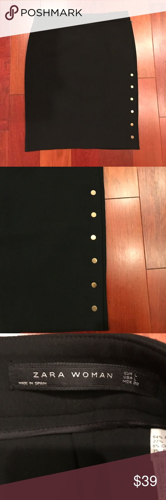 Zara Black Button Skirt Never worn Zara Women size Large black skirt. This skirt is super cute with gold snaps up the left side for detail. The skirt zips up the back. Perfect professional skirt. Zara Skirts