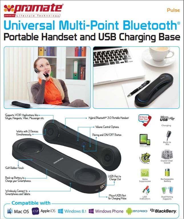 http://www.satelectronics.co.za/ProductDescription.aspx?id=3085284 Promate Pulse Universal Multi-Point Bluetooth® Portable Handset and USB Charging Base. Price: R 499.00