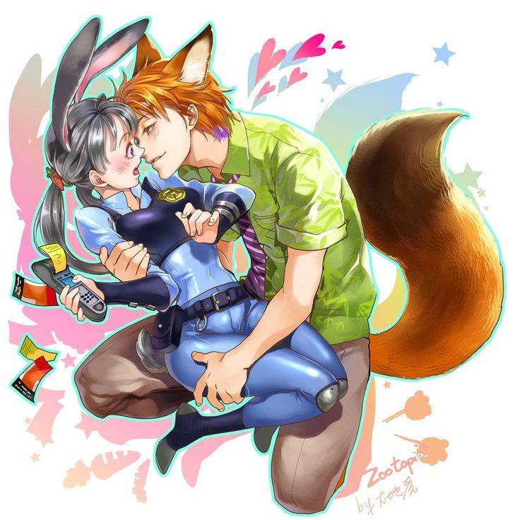 カップル, 投稿, 蝶, Zootopia Fanart, Anime Version, Mr Fox