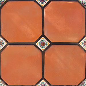 Terracotta floor tile with decorative hand painted tile accents.