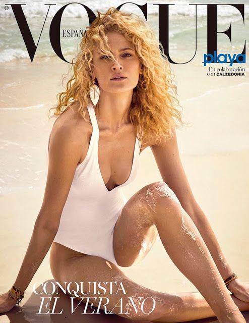 Michelle Buswell posa en la playa  para  la portada de Vogue España 2017