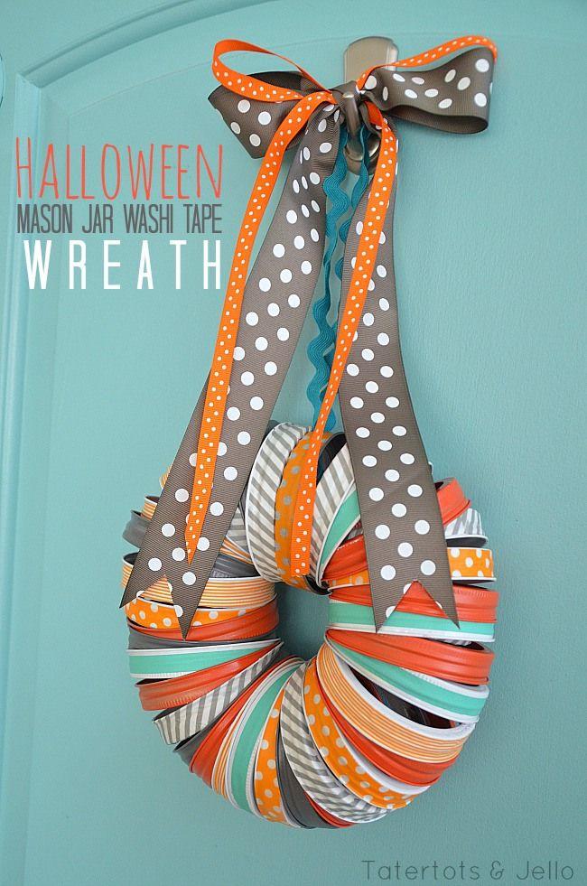 Halloween mason jar lid and washi tape wreath #halloween #washitape #wreath