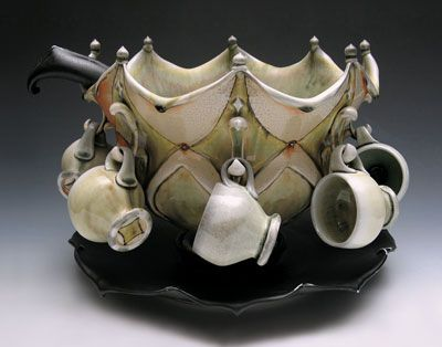 Punch bowl and teacup holder  |  The Elegant Yet Convivial Pottery of Lorna Meaden