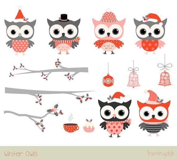 Establece Linda Navidad clipart de buho, buho gris rojo clip arte, imágenes prediseñadas de aves de invierno, Navidad clipart animal sobre rama de árbol con holly y ornamento