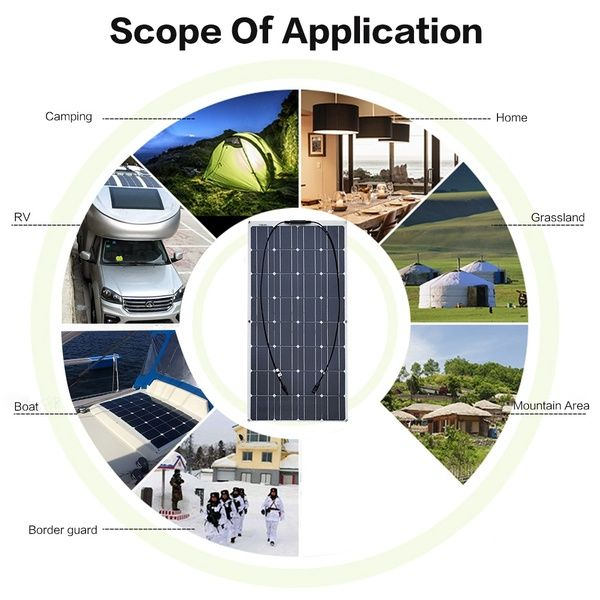 100w 120w 32 36 Cells Flexible Solar Panel With 20a Solar Controller Module Car Rv Boat 12v Solar Charg Flexible Solar Panels Solar Energy Panels Solar Charger