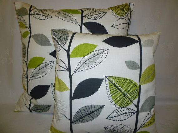 PAIR BIG SMALL Pillows Green Gray Black Designer Cushion Covers Pillowcases Shams Slips Scatter. on Etsy, $33.00