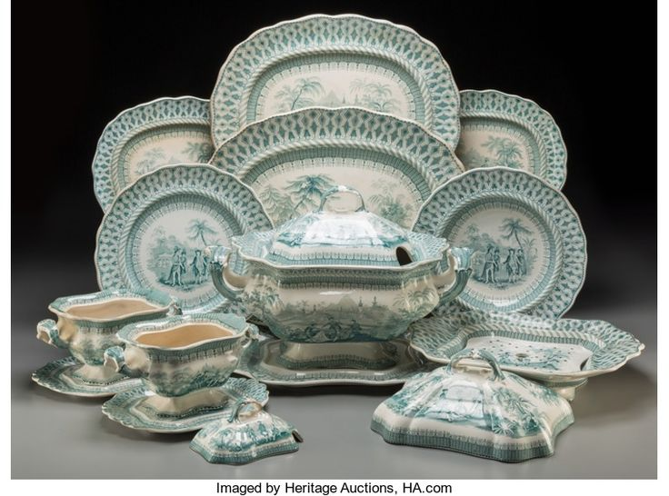 Ceramics & Porcelain, British:Antique  (Pre 1900), An Seventeen-Piece Thomas Godwin Penn's Treaty StaffordshireTransferware Table Service with Associated James Bee... (Total: 18Items)