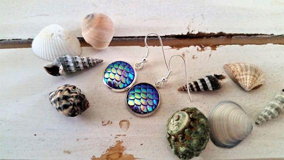 Purple mermaid scales charm earrings   mermaid fantasy