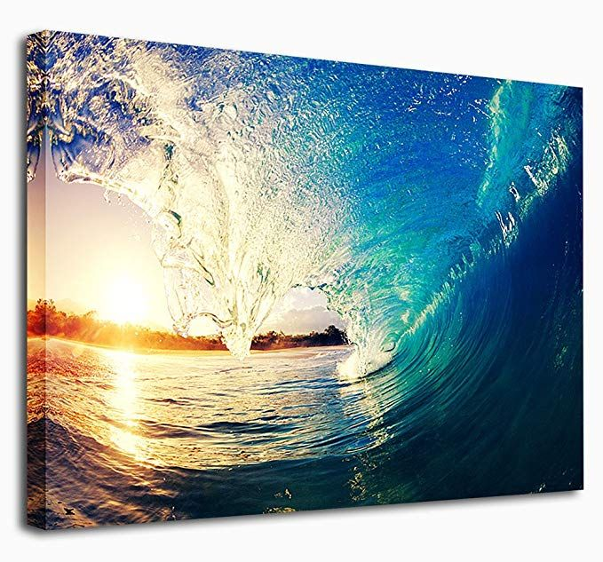 Canvas Wall Art Ocean Waves Sunset Nature Picture Large Canvas Painting Artwork Contemporary Seascape For Ho Ocean Artwork Ocean Wall Art Large Canvas Painting