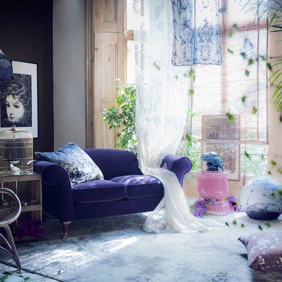 Whimsical purple living room.