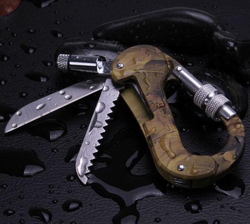 Carabiner Multi Tool with LED Light, Compass Camping/Mountaineering