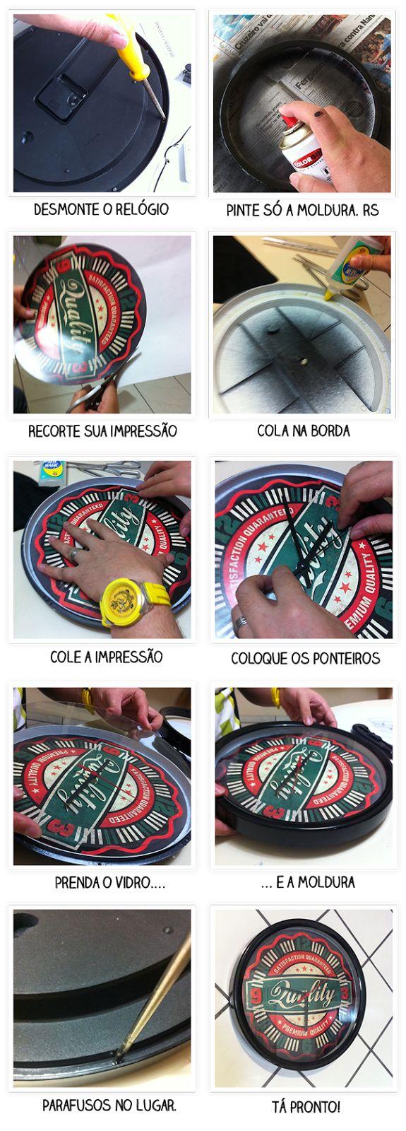 Como repaginar o seu relógio made in camelô.     Para ter um desses pra chamar de seu você vai precisar de:  Um relógio de parede redondo  Cola Branca  Tinta Spray Preta  1 impressão na largura do relógio  Chave de Fenda    Instruções no Casa de colorir com a super Thalita Magalhães da Casa de colorir. http://www.casadecolorir.com.br/2012/12/casa-de-cueca-relogio-de-parede-retro.html