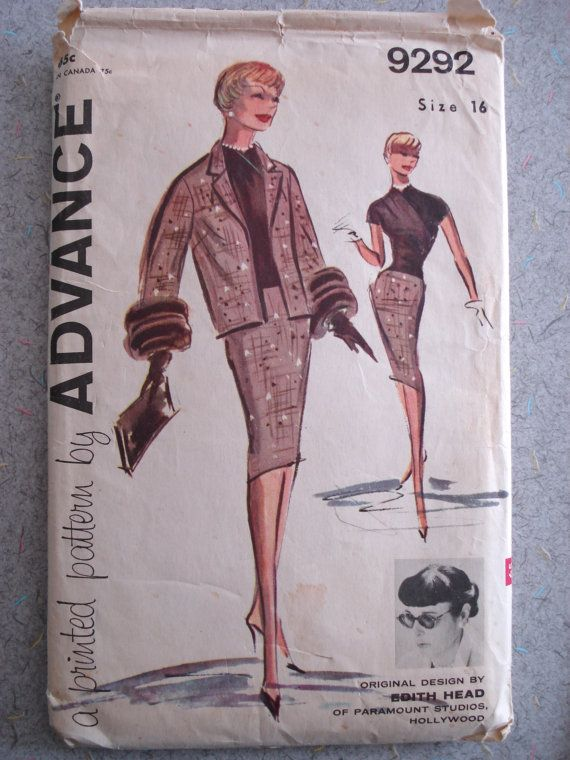 Vintage 1960s Edith Head Suit Dress Sewing Pattern by serine23, $55.00